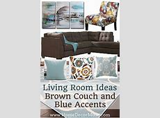Blue And Brown Family Room Living Ideas With Dark Couches