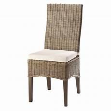 chaise en rotin chaise en rotin et mahogany massif hton maisons du monde
