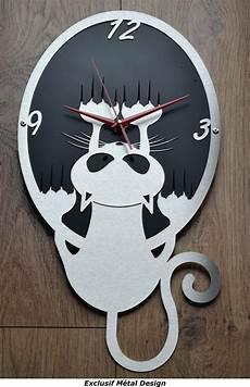 horloge murale originale horloge murale design et originale quot chat quot inox et m 233 tal