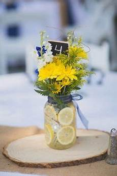 rustic table decoration with light blue and yellow