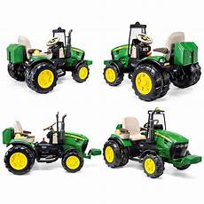 deere 126cm 12v electric ride on dual tractor