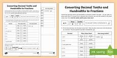 converting decimal tenths and hundredths to fractions worksheet worksheet