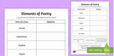 poetry elements worksheets 25266 cfe second level elements of poetry worksheet worksheet scottish