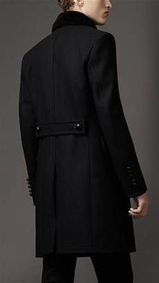 top coats for burberry shearling collar top coat in black for lyst