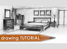 Drawing tutorial   room in two point perspective (bedroom