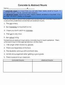 concrete abstract nouns worksheet by teacherology tpt