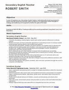 secondary english teacher resume sles qwikresume