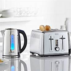 polished stainless steel kettle and toaster set