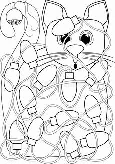 cat tangled in lights coloring page stock