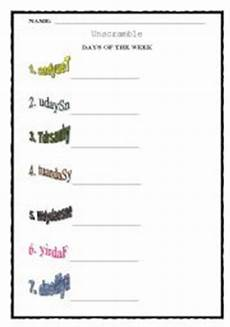 unscramble days of the week esl worksheet by teacherbrunaelis