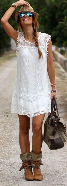 Robes De Mode Robe Blanche Hippie Chic