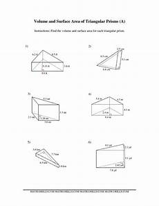 measurement area and volume worksheets 1628 the volume and surface area of triangular prisms a math worksheet from the measurement