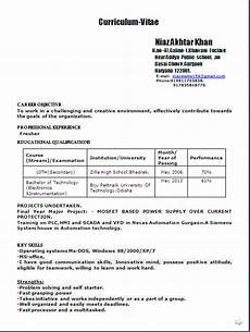 resume format for freshers b tech mechanical
