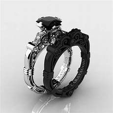 black and white wedding ring sets art masters caravaggio 14k black and white gold 1 25 ct princess black and white diamond