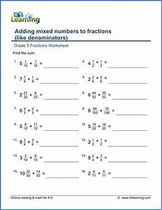 fractions worksheets grade 5 4207 grade 5 math worksheet fractions adding mixed numbers to fractions like denominators k5