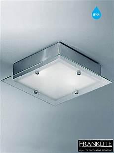 franklite satin glass satin nickel square flush light bathroom ceiling fitting cf1250 from