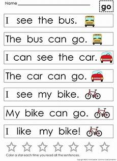 kindergarten sight word sentences for guided reading levels a and b middle early literacy and