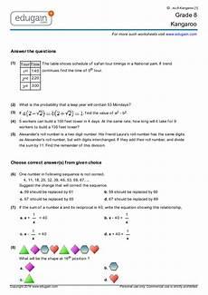 grade 8 kangaroo printable worksheets online practice online tests and problems edugain usa