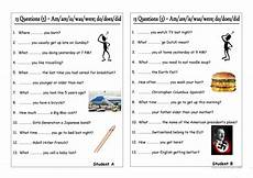 13 questions 5 am are is was were do does did pair work worksheet free esl printable