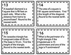 pythagorean theorem word problems task cards by mrs e