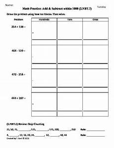 2 nbt 7 add subtract 2nd grade common core math worksheets 3rd 9 weeks