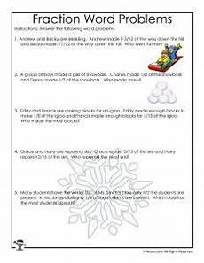 winter fractions word problems worksheets for 3rd grade woo jr kids activities