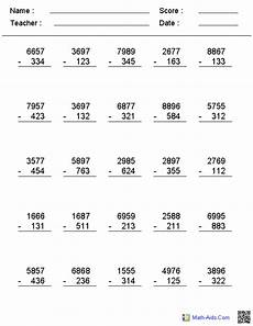 math worksheets subtraction with regrouping 10620 2 3 or 4 digit no regrouping vertical format subtraction worksheets math worksheets 4th