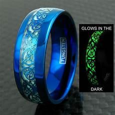 8mm blue tungsten men s ring celtic dragon glow in the dark wedding band ebay