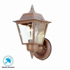 hton bay 1 light rustic bronze outdoor wall l hb7203p 98 the home depot