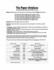 paper airplane science worksheets 15715 using the scientific method the paper airplane experiment poster