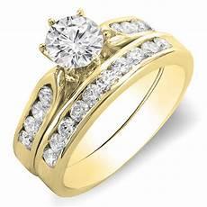 14k yellow gold cut diamond bridal engagement ring