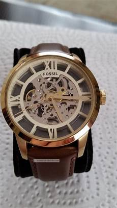 fossil uhr townsman automatik leder braun armbanduhren