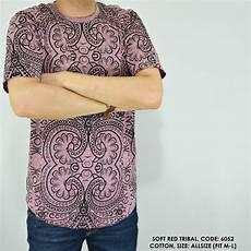 jual baju kaos cowok pria motif tribal soft merah di lapak sakku indonesia dikawar