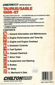 service and repair manuals 1987 ford taurus electronic toll collection used chilton 1986 1987 ford taurus mercury sable repair manual