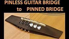 how to fix a guitar bridge pinless guitar bridge to pinned guitar bridge easy lifted bridge repair