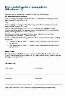 dienstbarkeitsvertrag gegenseitiges n 228 herbaurecht muster