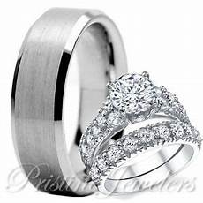 his tungsten 925 sterling silver engagement wedding ring mens womens 3pc ebay