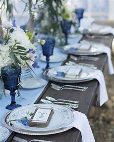 country blue wedding inspiration wedding table settings