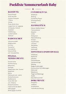 checkliste urlaub alles im checkliste sommerurlaub mit baby was haben wir in der