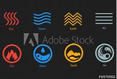 Vector Illustration Of Four Elements Icons Line And