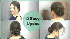 2 easy updo hairstyles elegant summer buns for frizzy and