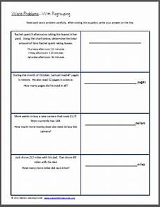 word problems with regrouping worksheet worksheets
