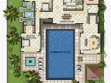 house plans with pools in the middle tuscan pool single story mediterranean house plans one
