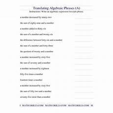 algebra worksheet translating algebraic phrases a translating algebraic expressions