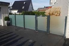 Klarglas Satiniert Glaszaun Sichtschutz Zaun