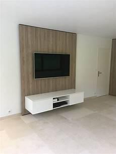meuble tv accroché au mur afin de pouvoir suspendre votre t 233 l 233 vision sans c 226 bles