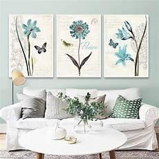 Ruang Tamu Nordic Lukisan Lukisan Biru Bunga Bilik Tidur