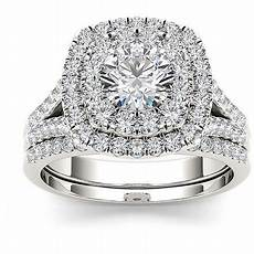 imperial diamond imperial 2 carat t w diamond double halo 10kt white gold engagement ring