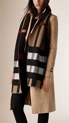 Lyst Burberry Check Wool Blanket Scarf