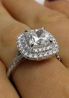 cushion diamond double halo pave engagement ring jewels pinterest halo engagement